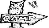 Owl sitting on an arrow pointing towards Camp
